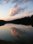 Photo of sunset at Apex Community Park (clouds reflecting in the lake)
